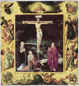 De kruisiging, omringd door engelen met de Passiewerktuigen, de symbolen van de vier evangelisten en symbolen die verwijzen naar Christus' overwinning op dood en zonde