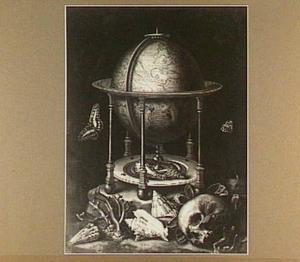 Vanitasstilleven met schedel, globe en schelpen