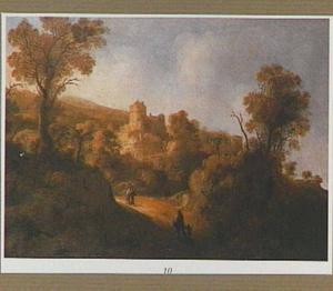 Zuidelijk landschap met reizigers op een weg naar een stad op een berg
