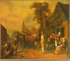 Dorpstraat met hooiwagen en vrolijk gezelschap voor een herberg