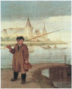 Visser bij een brug, het Muiderslot op de achtergrond