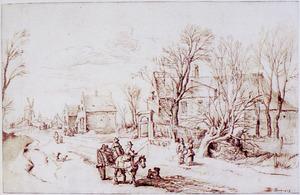 Winterlandschap met dorpsstraat  en figuren