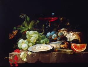 Stilleven met vruchten, oesters, brood en een wijnglas
