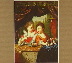 Een jongen en een meisje achter een balustrade, spelend met een hondje en een kaketoe