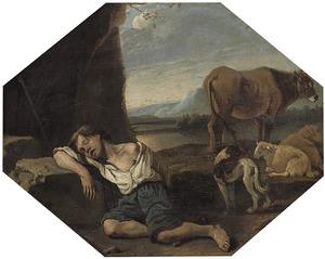 Slapende jongen met een koe, een hond en twee schapen in een landschap