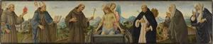 Christus als Man van Smarten met zes Heiligen (Antonius van Padua, Ludwig van Toulouse, Franciscus, Dominicus, Clara en Catharina van Siena)