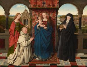 Maria met kind, de H. Elisabeth van Hongarije (rechts) en de H. Barbara met de karthuizer monnik Jan Vos