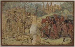 Gezelschap van leden van het Hollands-Beierse vorstenhuis, met onder andere Jan en Jacoba van Beieren (vissend) en Frank van Borsselen; in de achtergrond het Haagse Binnenhof