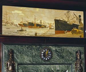Stoomschepen bij havenkade