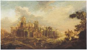 Landschap met jagers bij ruïnes