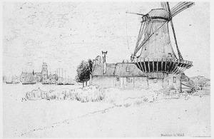 Molen met op de achtergrond Dordrecht