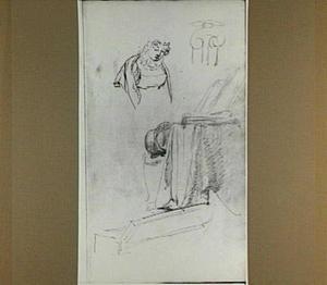 Studie van een vrouw, kapiteel, stoel met hoed en geopende doos