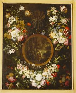 Bloemenkrans rond voorstelling van Het verschijnen van Maria aan Elias in een profetische wolk