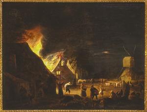 Nachtelijk landschap met een brand