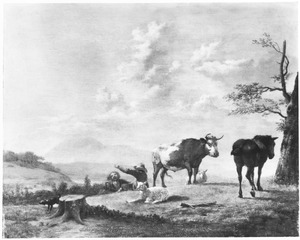 Glooiend landschap met herders en beesten