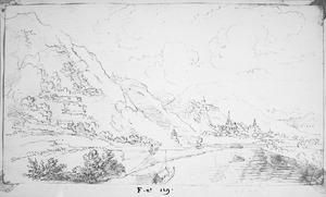 Rijnvallei met op de achtergrond een stad