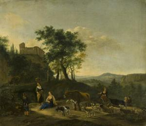 Italiaans landschap met herderinnen