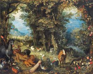 Paradijslandschap met dieren, Adam en Eva in de achtergrond