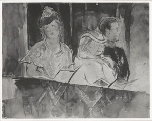 Portret van koningin Wilhelmina (1880-1962), kroonprinses Juliana (1909-2004) en prins Bernhard (1911-2004)