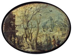 Winterlandschap met herberg, in de verte een stad