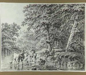 Heuvelachtig boslandschap met rivier en boerenfamilie met vee