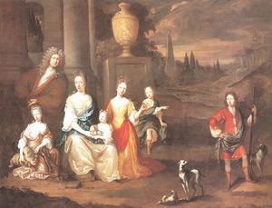 Groepsportret van zeven onbekende personen