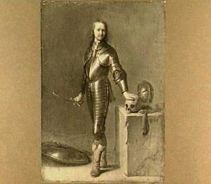 Portret van een man in wapenrusting met doodshoofd op een tafel