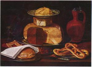Stilleven met kazen, broodje en krakelingen