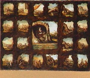 Het leven en het martyrium van een heilige voorgesteld in twintig scènes rondom een centrale afbeelding
