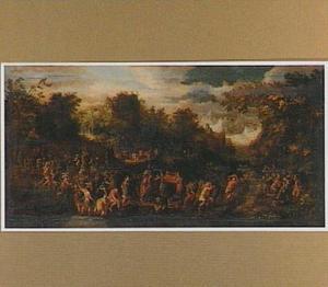 Berglandschap met Jozua en de Israëlieten met de ark des verbonds (Jozua 8:33)