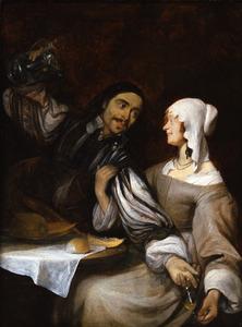 Jonge vrouw belet een man wijn in haar glas te schenken