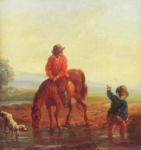 Een landschap met een ruiter, een passant en een hond