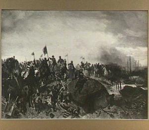 Floris V tijdens zijn veldtocht tegen de West-Friezen op de dijk bij Vroonen in 1272