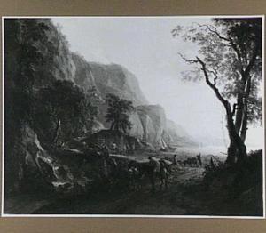 Zuidelijk landschap met twee halthoudende ruiters bij een waterval, in de verte een baai