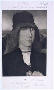 Portret van een jongeman met een schriftrol