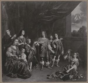 Portrait historié van een familie als Cornelia, de moeder der Gracchi, die haar kinderen, haar ware juwelen,  toont