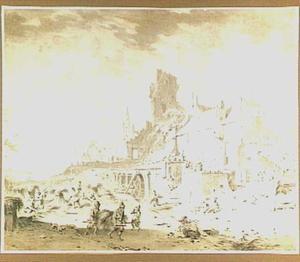 Oogstende en dorsende boeren bij een watermolen, op de achtergrond een kerk (De Zomer)