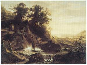 Berglandschap met een kapel bij een waterval