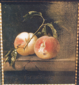 Twee perziken op een stenen plint