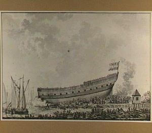 Het van stapel lopen van het oorlogsschip 'Hercules' in Dordrecht op de werf van J. Spaan, 12 april 1782