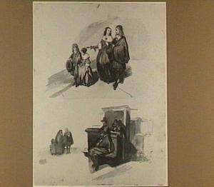 Diverse figuurschetsen, kopieën naar Emmanuel de Witte