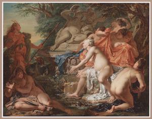 Diana en haar nimfen door Actaeon verrast