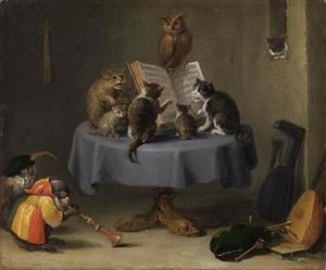 Kattenkoncert, met apen en een uil