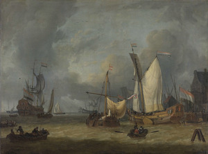 Spiegeljacht en andere vaartuigen voor een havenkade