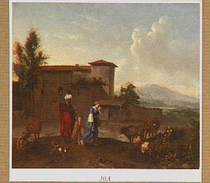 Landschap met de verstoting van Hagar en Ismaël (Genesis 21:8-14)