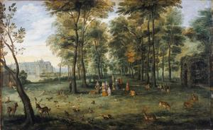 Aartshertogen Albrecht en Isabella in de tuin van hun kasteel op de Coudenberg te Brussel