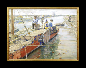Vrachtschip in kanaal