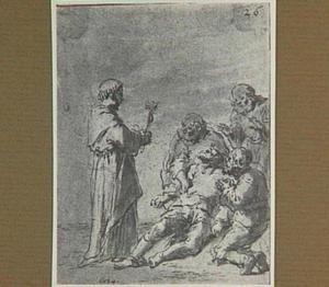 De aflaatverkoper verleent zijn medeplichtige geestelijke bijstand (Lazarillo de Tormes dl. 1, cap. 16, p. 48)
