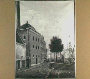 Gezicht vanaf de Achterhakkers op de Kalkhaven te Dordrecht