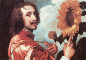 Zelfportret met zonnebloem